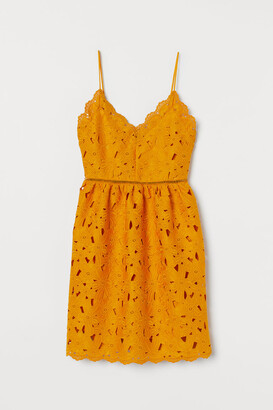 H&M Lace V-neck Dress - Yellow