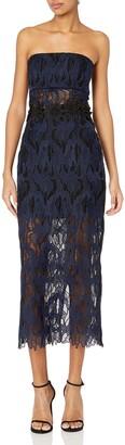 ABS by Allen Schwartz Women's Strapless Lace Gown with Detail Florettes at Waist