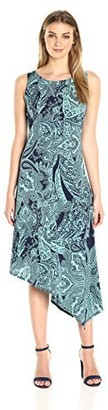 One World ONEWORLD Women's Sleeveless Printed Asymmetrical Hem Metro Length Dress