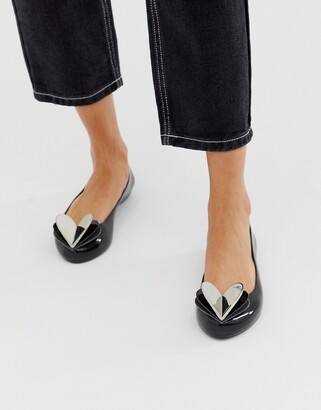 Zaxy valentines heart flat shoes in black