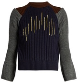 Kolor Flared-cuff sequin-embellished wool sweater