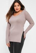 Missguided Plus Size Mauve Knit V-Neck Tunic