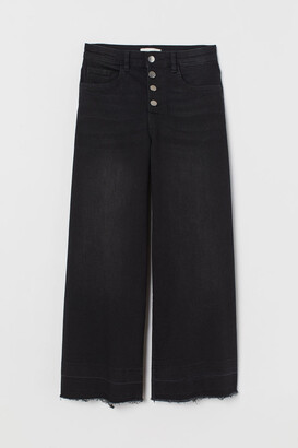 H&M Wide Leg Cropped Jeans - Gray