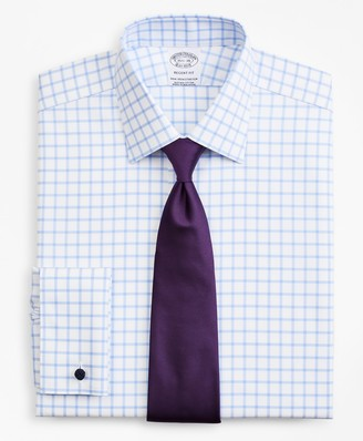 Brooks Brothers Stretch Regent Fitted Dress Shirt, Non-Iron Twill Ainsley Collar French Cuff Grid Check