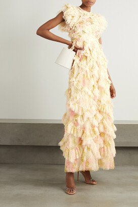 NEEDLE & THREAD - Genevieve Rose Ruffled Floral-print Tulle Gown - Ecru