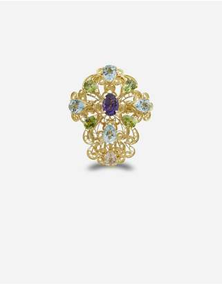 Dolce & Gabbana Pizzo Ring In Yellow Gold Filgree With Amethyst, Aquamarines, Peridots And Morganite