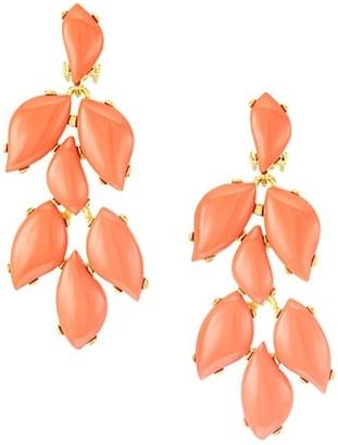 Kenneth Jay Lane Coral 22K Goldplated Drop Earrings