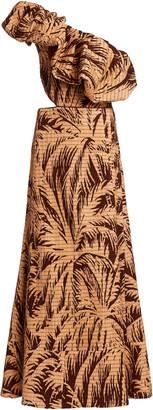 Johanna Ortiz Quiet Corners Convertible Printed Cotton-Blend Maxi Dress