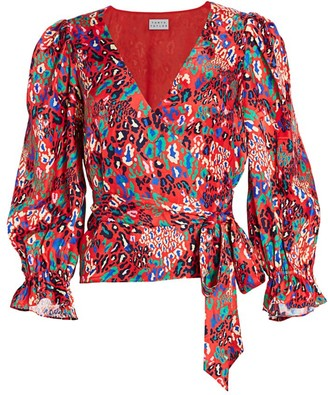 Tanya Taylor Kaylee Mixed Animal-Print Silk Wrap Puff-Sleeve Blouse