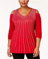 Belldini Plus Size Embellished Cold-Shoulder Sweater
