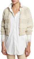 Brunello Cucinelli Horizontal-Striped Cropped Jacket, Butter Melange