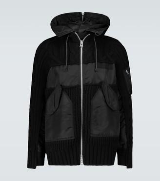 Sacai Knitted blouson jacket with hood