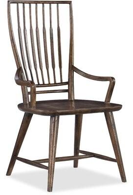 Hooker Furniture Roslyn County Solid Wood Dining Arm Chair in Medium Pecan (Set of 2 Color: Dark Brown