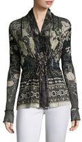 Fuzzi Batik Floral Tie Cardigan