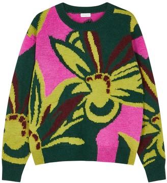 Dries Van Noten Marshmallow Floral-intarsia Wool-blend Jumper