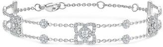 De Beers 18kt white gold Enchanted Lotus three diamond charm bracelet