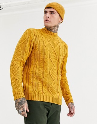 Asos DESIGN heavyweight cable knit turtle neck jumper in mustard