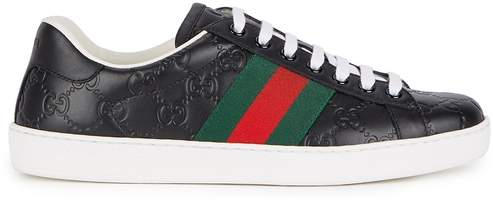 Gucci New Ace Black Leather Trainers