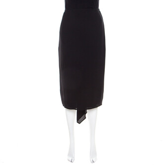 Escada Black Silk Ruched Back Asymmetric Pencil Skirt M