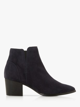 Dune Payge Suede Mid Block Heel Ankle Boots, Navy