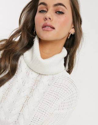 Brave Soul poppy cable knit roll neck jumper in ecru-White