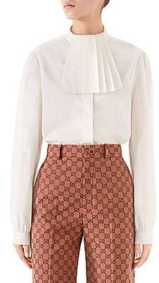 Gucci Women's Heavy Poplin Pleated Collar Blouse