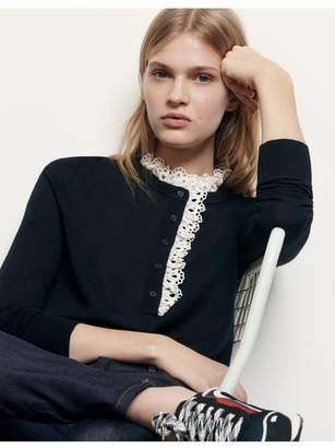 Sandro Sweater With Broderie Anglaise At Collar