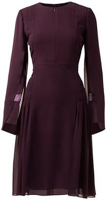 Akris Slit-Sleeve Smocked Silk Sheath Dress