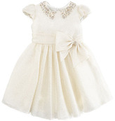 David Charles Jeweled Collar Dress, Ivory/Gold, Sizes 2Y-10Y