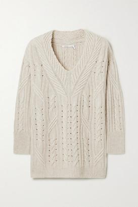 Agnona Cable-knit Cashmere And Linen-blend Sweater - Beige