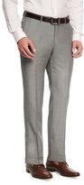 Ermenegildo Zegna Sharkskin Trofeo®; Wool Flat-Front Trousers, Light Gray