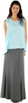 Saint Grace Moby Stripe Fold Over Skirt In Charcoal Cream