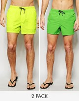 Asos Swim Shorts 2 Pack In Neon Green And Yellow In Short Length