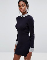 French Connection 45 Degree Rib Knit Shirt Dress