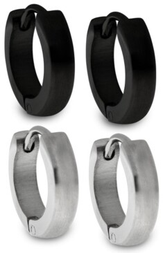 Sutton by Rhona Sutton Sutton Stainless Steel and Black Huggie Earrings Set Of 2 Pairs