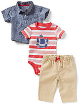 Baby Starters Baby Boys 3-12 Months Nautical Printed Chambray Shirt, Thin/Wide-Stripe Bodysuit, and Pants Set