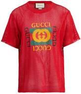 Gucci Logo-print cotton-blend mesh T-shirt