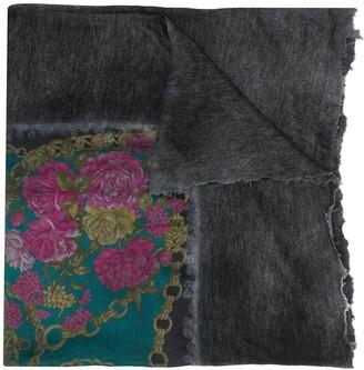 Avant Toi Floral-Print Raw-Edge Scarf