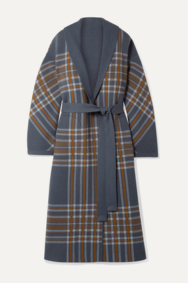 Loro Piana Calgary Reversible Leather-trimmed Belted Checked Cashmere Coat - Gray