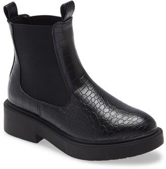 Topshop Karri Croc Embossed Chelsea Boot