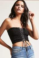Forever 21 Smocked Lace-Up Tube Top