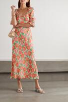 Thumbnail for your product : Rixo Juliette Ruffled Shirred Floral-print Crepe Midi Dress - Orange