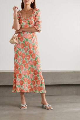 Rixo Juliette Ruffled Shirred Floral-print Crepe Midi Dress - Orange