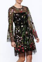 Hale Bob Sheer Sleeved Embroidered Floral Dress