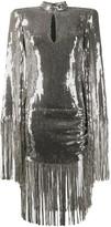Balmain sequinned fringe-trimmed dress
