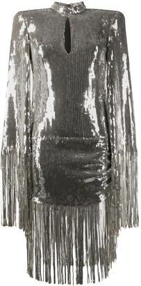 Balmain Sequinned Fringe-Trimmed Dress