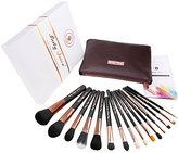 Party Queen Signature Quality 15Pcs Makeup Brush Set Kit Silky Density Synthetic Bristles Cosmetic Kit + Free Soft Brown Leather Case Versatile For Face,eye,lips Flawless Beauty (Rose Golden)
