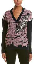 Emilio Pucci Pailette Sequin Embroidered Wool, Cashmere, & Silk Blend Sweater.