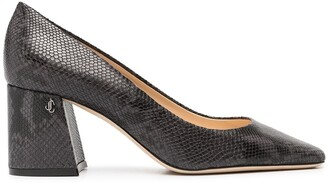 Jimmy Choo Snake-Print Leather Pumps