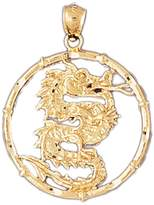 NecklaceObsession 14K Gold Chinese Zodiacs - Dragon Pendant Necklace - 37 mm